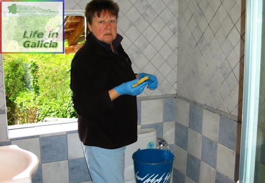 Cleaning after the tiler - Monika thought she was on holiday